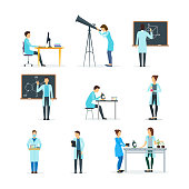 Cartoon Biologists, Chemists and Physicists Set. Vector
