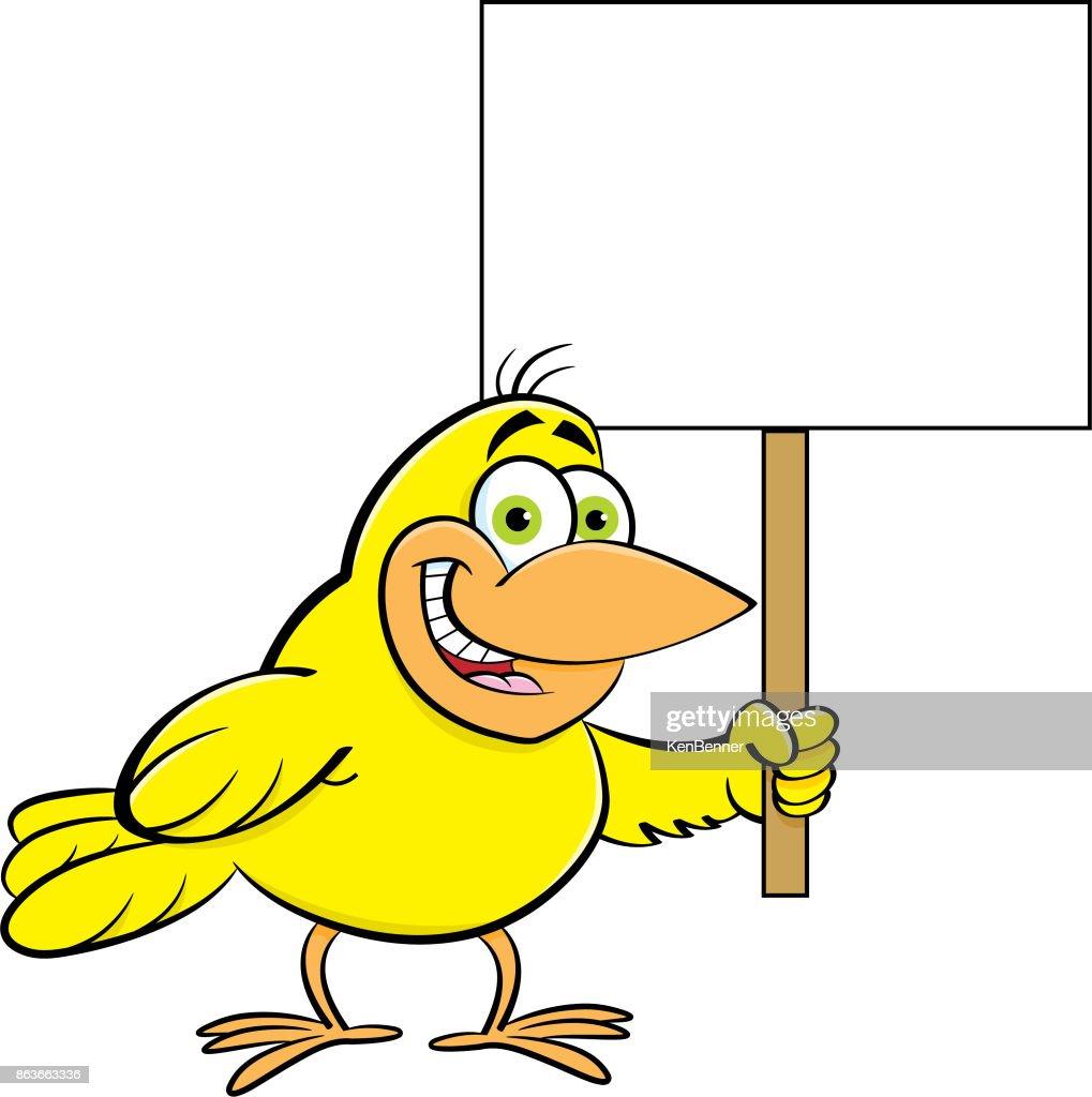 Cartoon bird holding a sign.