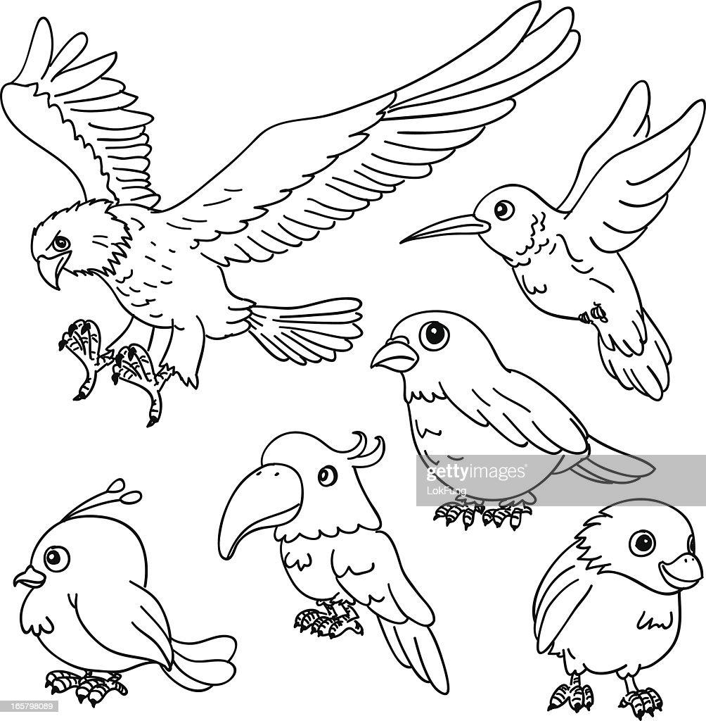 Cartoon Birds In Black And White High Res Vector Graphic Getty Images