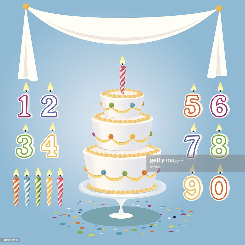 Cartoon Birthday Cake Candles Numbers And Tablecloth Vector Art