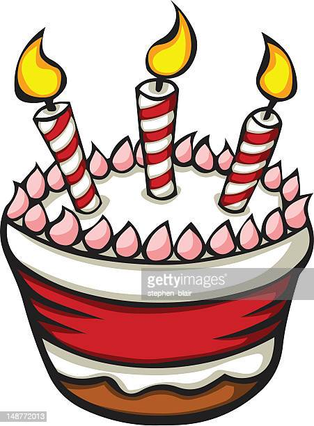 cartoon birthday cake - stehen stock illustrations