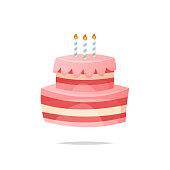 Cartoon birthday cake vector isolated