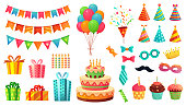 Cartoon birthday party decorations. Gifts presents, sweet cupcakes and celebration cake. Colorful balloons vector illustration set