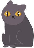 Cartoon blacck vector cat character