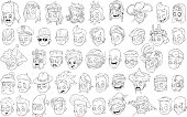 Cartoon black and white characters heads big vector set