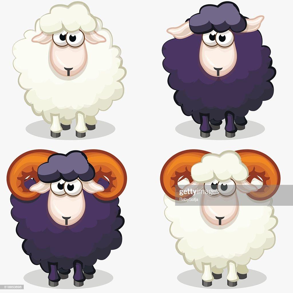 cartoon black and white sheep