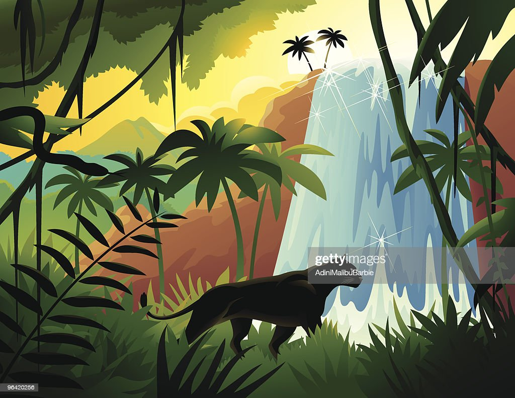 Cartoon Black Panther in Tropical Jungle Near Waterfall : stock illustration