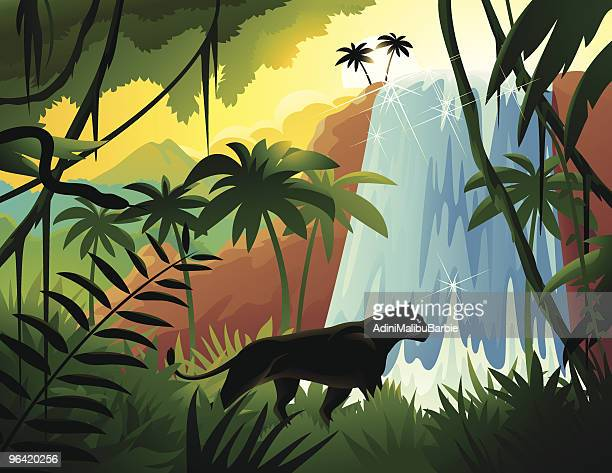 Cartoon Black Panther in Tropical Jungle Near Waterfall