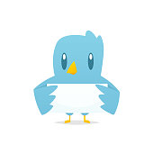 Cartoon blue bird holding blank banner vector
