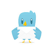 Cartoon blue bird holding mail envelope vector