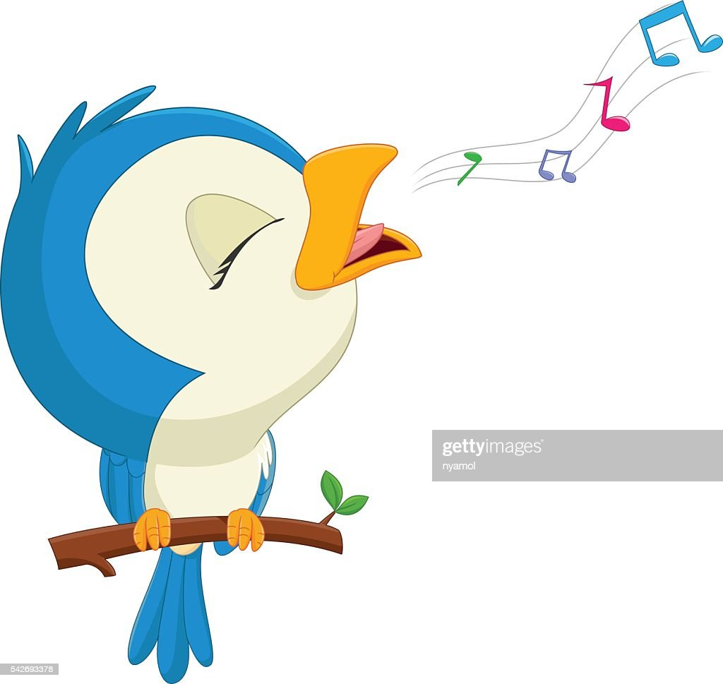 cartoon blue bird singing