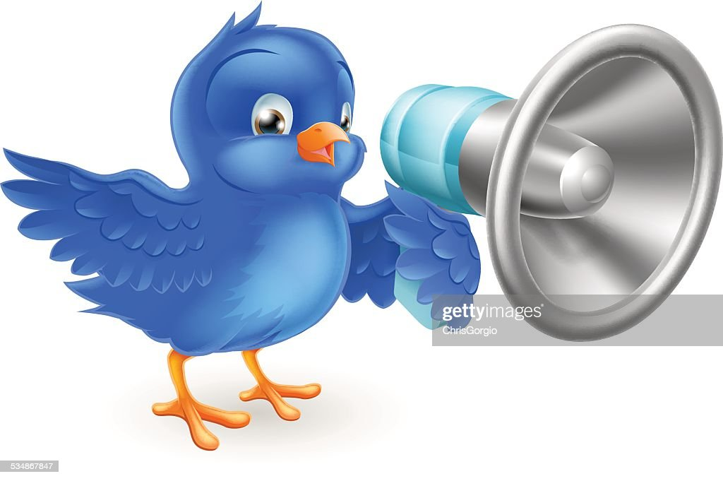 Cartoon blue bird with mega phone