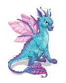 Cartoon blue fantasy dragon