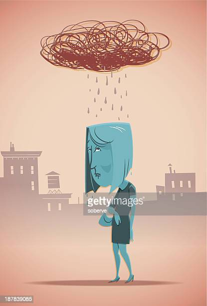 cartoon blue woman with a scribbled rain cloud above her - overcast stock illustrations, clip art, cartoons, & icons