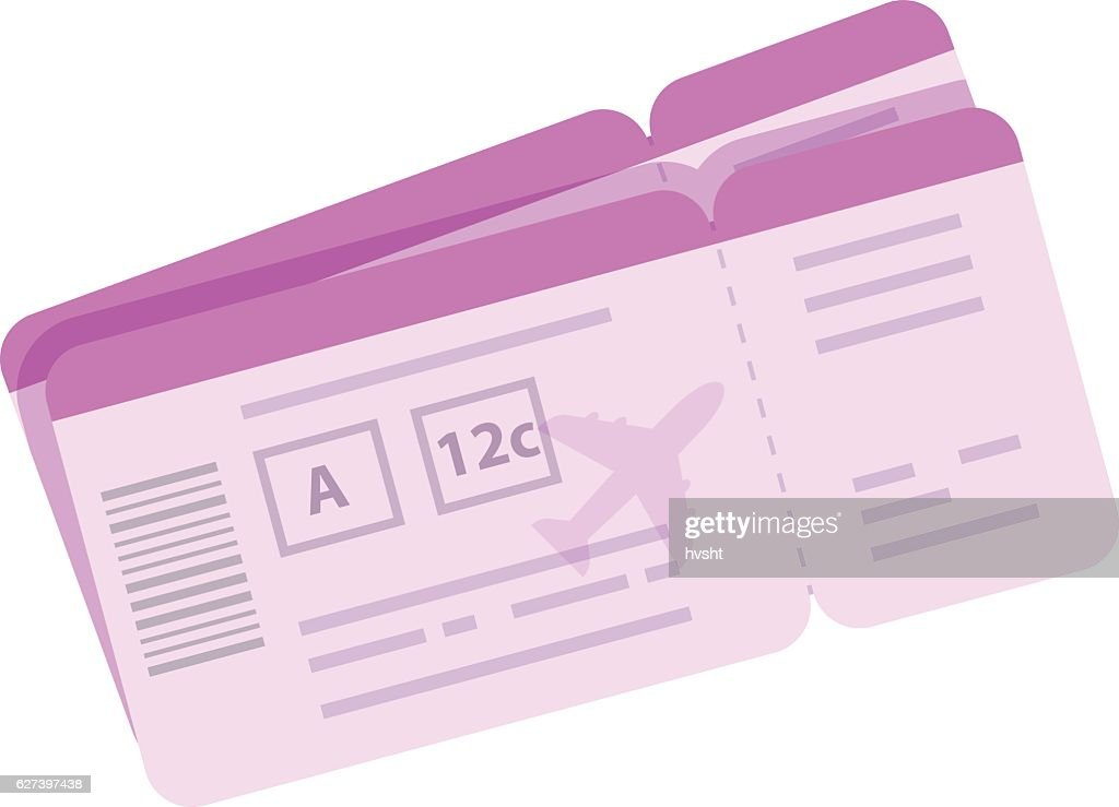 Cartoon boarding pass vector illustration. Tickets for airplane travel