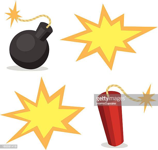 cartoon bombs and explosions - firework explosive material stock illustrations
