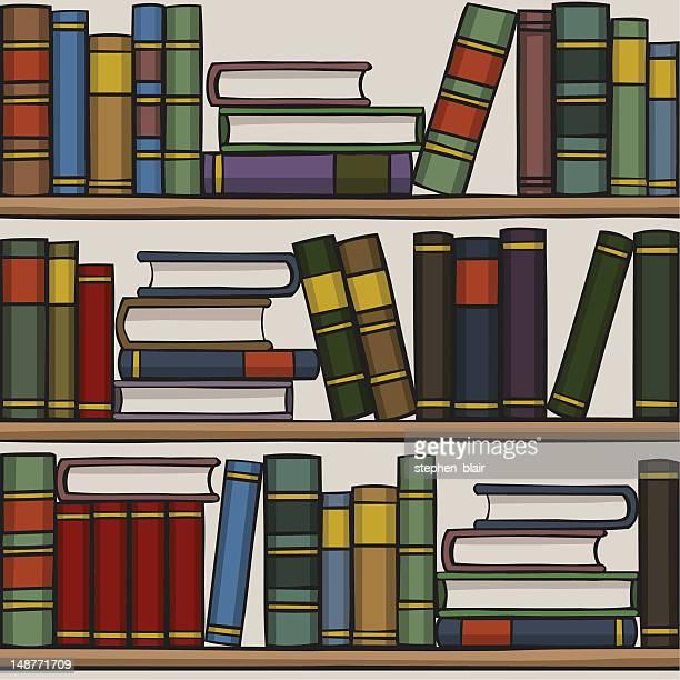 cartoon bookshelf - stehen stock illustrations