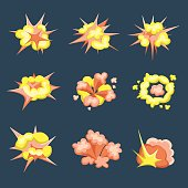 Cartoon Boom. Set of fire bomb explosions in comic style. Vector illustration, isolated.