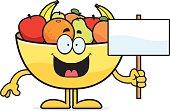 Cartoon Bowl of Fruit Sign