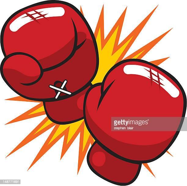 cartoon boxing gloves - boxing glove stock illustrations