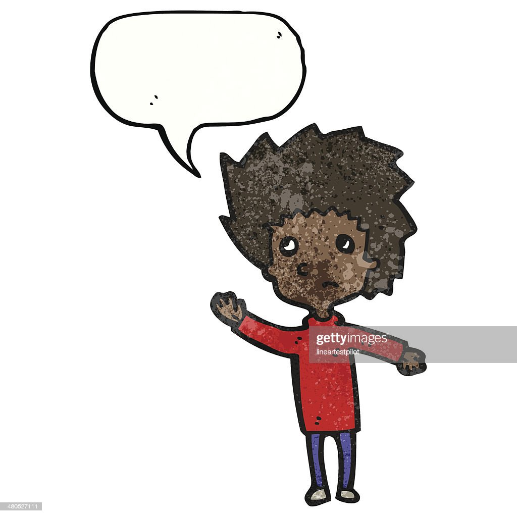 cartoon boy asking question : Vector Art