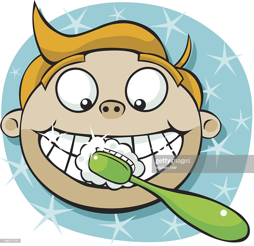 Cartoon Boy Brushing Teeth Vector Art | Getty Images