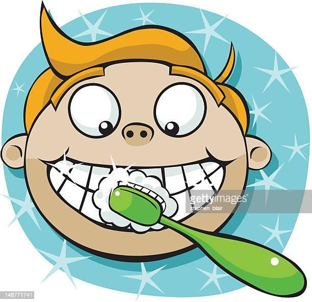 cartoon boy brushing teeth - brushing teeth stock illustrations