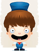 Cartoon Boy Conductor Smiling