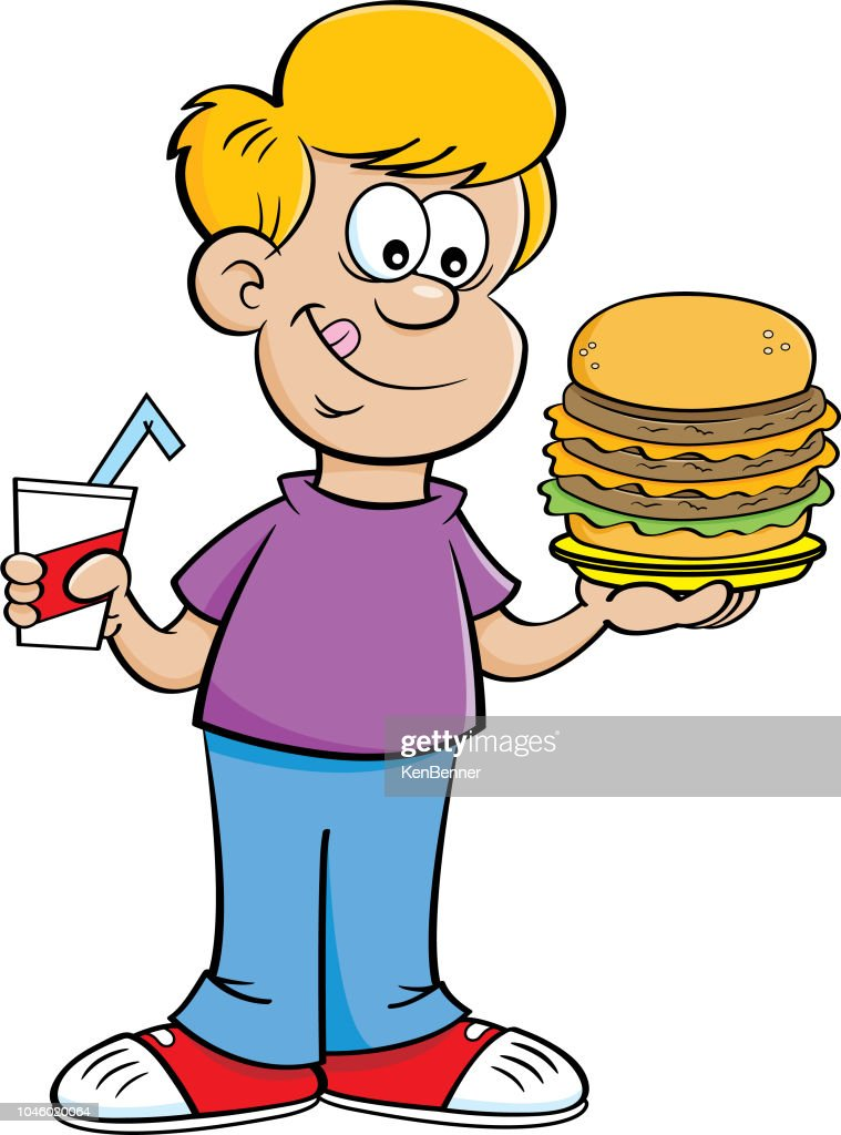 Cartoon boy holding a drink and a large hamburger.