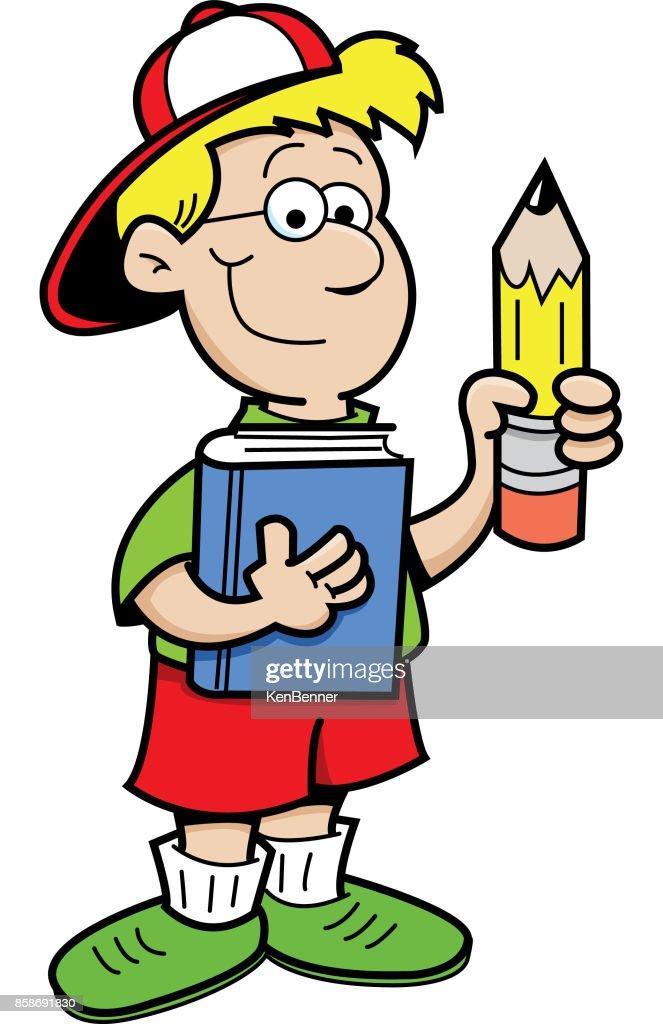 Cartoon boy holding a pencil and a book.