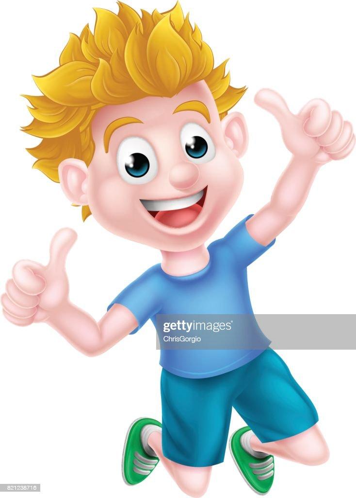 Cartoon Boy Jumping Thumbs Up