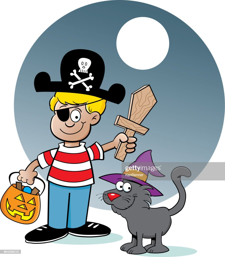 Cartoon boy trick or treating with a background.
