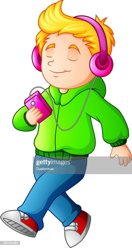 Cartoon boy walking and listening music player