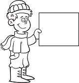 Cartoon boy wearing Winter clothing and holding a sign.