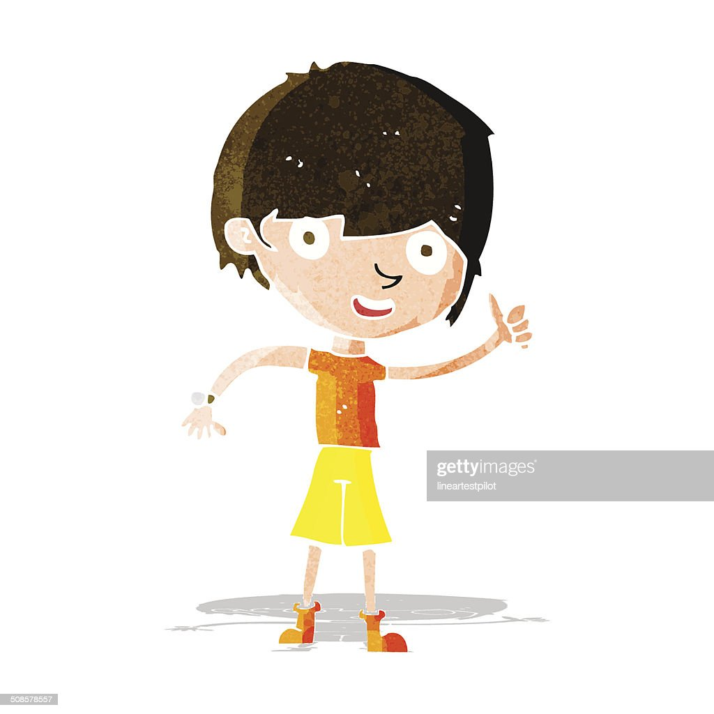 cartoon boy with positive attitude : Vector Art
