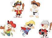 cartoon boys wearing costumes