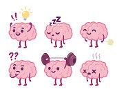 Cartoon brain character set