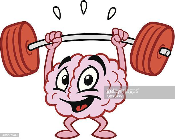 cartoon brain lifting weights - weight training stock illustrations