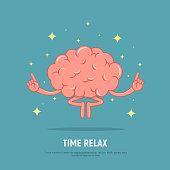 Cartoon brain meditation. Concept time relax. Calm brain in position lotus.