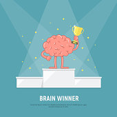 Cartoon brain stands on the winners podium. Brain with winners cup. Concept success.