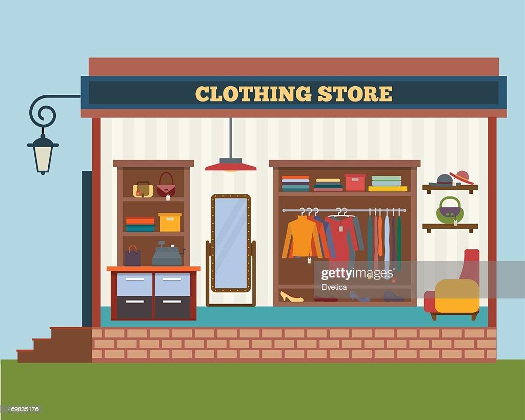 Cartoon brick and mortar clothing store