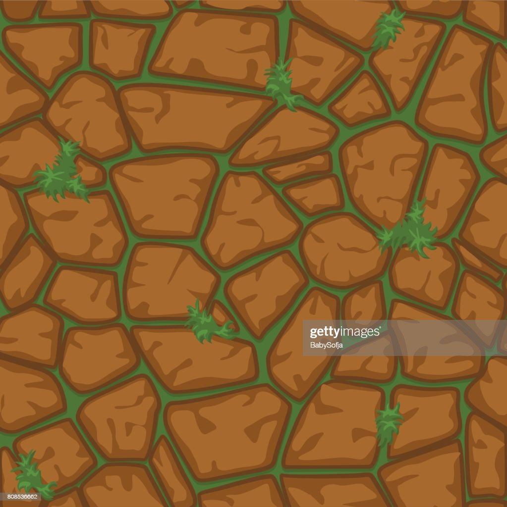 Cartoon brown stone and grass seamless background, texture pattern set5