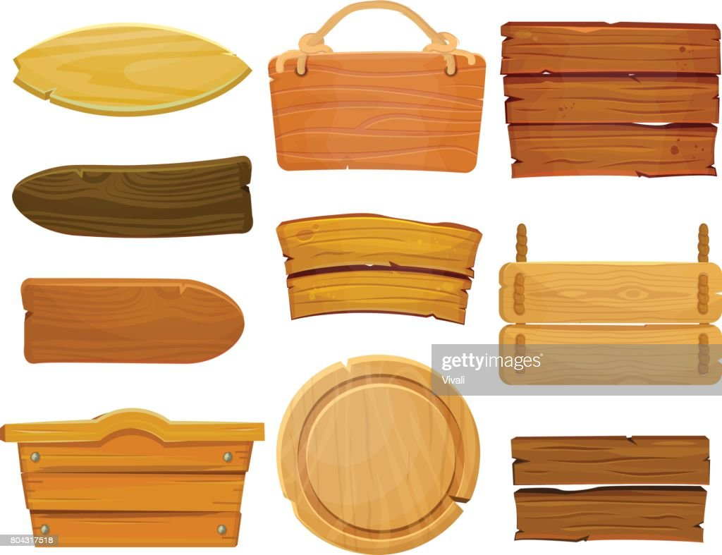 Cartoon brown wooden plate and ribbons. Old west wood board, vector set isolate on white background.