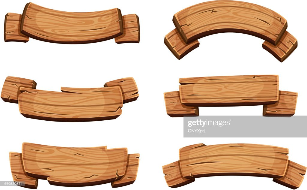 Cartoon brown wooden plate and ribbons. Vector set isolate on white background