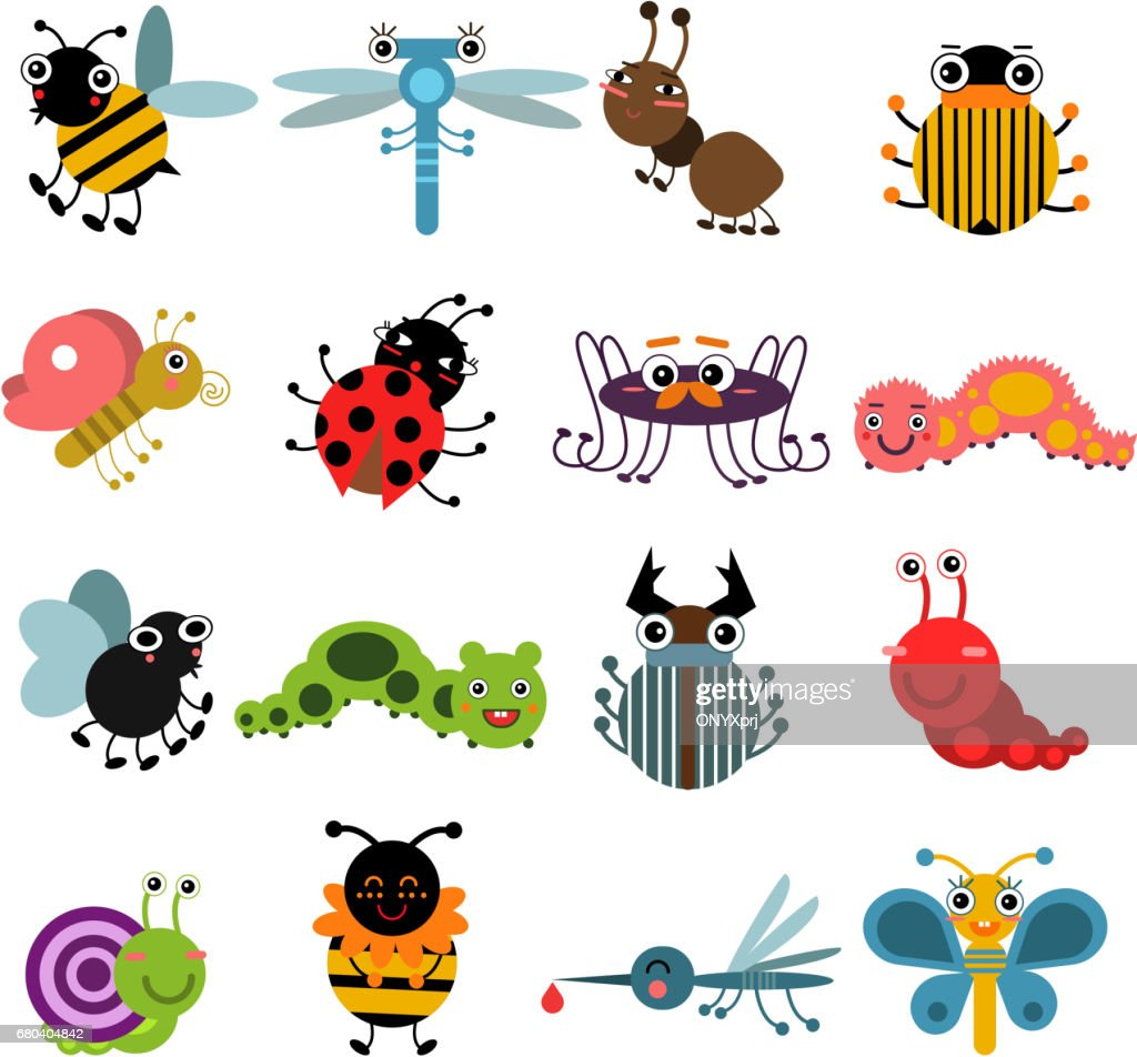 Cartoon bugs and insects. Vector illustration set isolate on white background