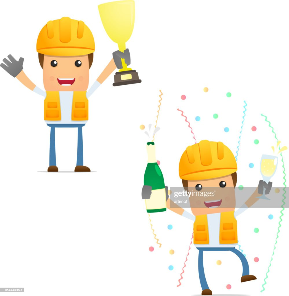 Cartoon Builder With Yellow Hat Holding Trophy And Champagne