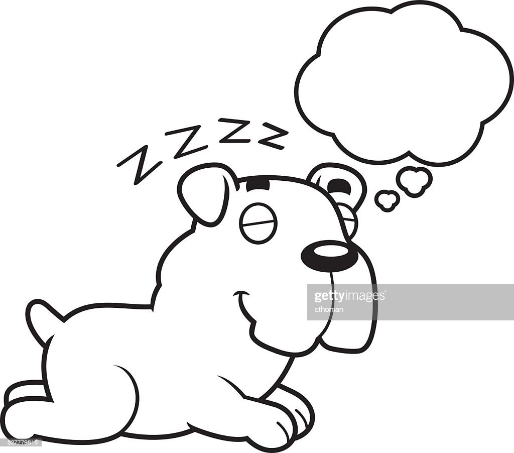 Cartoon Bulldog Dreaming