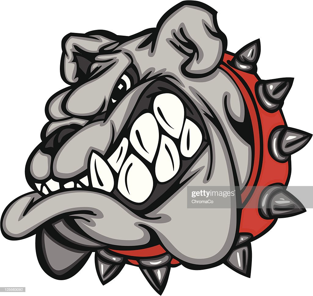 Cartoon bulldog face with big teeth and a red, spiked collar