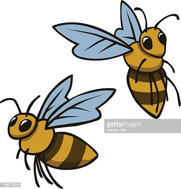 cartoon bumble bees - bumblebee stock illustrations, clip art, cartoons, & icons