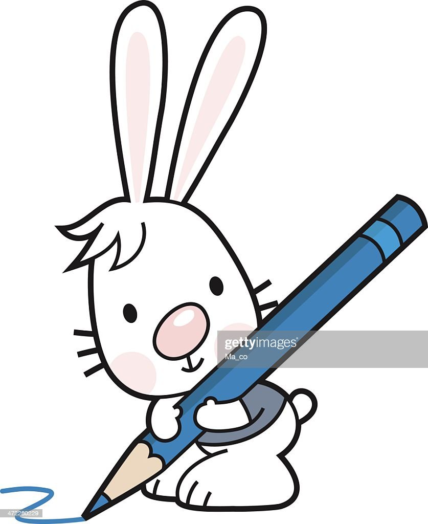 Cartoon Bunny With A Crayon Colored Pencil Vector Art   Getty Images